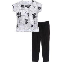 Piżamy damskie: Piżama z legginsami 3/4 bonprix czarno-biały z nadrukiem