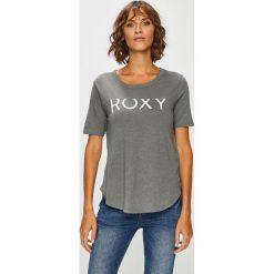 Roxy - Top. Szare topy damskie Roxy, s, z nadrukiem, z bawełny, z okrągłym kołnierzem. W wyprzedaży za 79,90 zł.