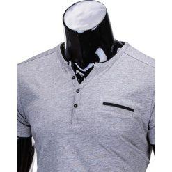 T-shirty męskie: T-SHIRT MĘSKI BEZ NADRUKU S681 – SZARY MELANŻ