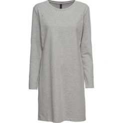 Sukienka dresowa ze sztrasami bonprix jasnoszary melanż. Szare sukienki dresowe marki bonprix, melanż, z kapturem, z długim rękawem, maxi. Za 89,99 zł.