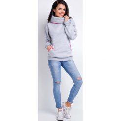 Bluzy rozpinane damskie: Szara Bluza Kangurka z Szerokim Golfem
