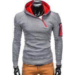 BLUZA MĘSKA Z KAPTUREM B745 - SZARA. Szare bluzy męskie rozpinane Ombre Clothing, m, z bawełny, z kapturem. Za 69,00 zł.