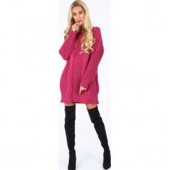 Amarantowy długi sweter oversize 0207. Czerwone swetry oversize damskie Fasardi. Za 89,00 zł.