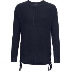 Sweter ze sznurowaniem bonprix ciemnoniebieski. Niebieskie swetry klasyczne damskie bonprix, ze sznurowanym dekoltem. Za 89,99 zł.