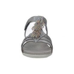 Sandały Rieker  Szare sandały z ozdobami na rzep  K2254-42. Czarne sandały damskie marki Rieker, z materiału. Za 228,99 zł.