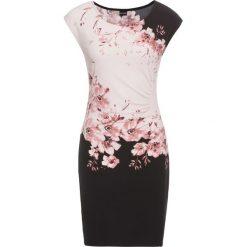 Sukienki hiszpanki: Sukienka z marszczeniami bonprix czarno-stary jasnoróżowy z nadrukiem