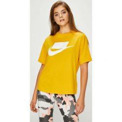 Nike Sportswear - Top. Szare topy damskie Nike Sportswear, m, z nadrukiem, z bawełny, z okrągłym kołnierzem. W wyprzedaży za 119,90 zł.