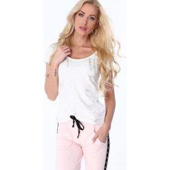 T-shirt z cyrkoniami kremowy ZZ1069. Białe t-shirty damskie Fasardi, l. Za 47,20 zł.
