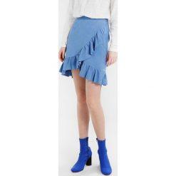 Gestuz NOELLE SKIRT  Spódnica skórzana granada sky. Niebieskie minispódniczki marki Gestuz, z materiału. W wyprzedaży za 412,65 zł.
