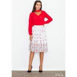 Ecru Spódnica Rozkloszowana Midi w Kolorowe Kwiaty. Szare spódnice wieczorowe marki Molly.pl, l, w jednolite wzory, z tkaniny, midi, rozkloszowane. Za 119,00 zł.
