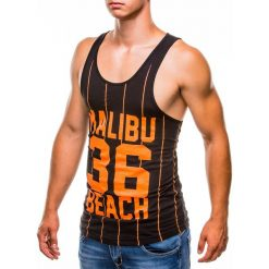 BOKSERKA MĘSKA Z NADRUKIEM S828 - CZARNA. Czarne t-shirty męskie z nadrukiem Ombre Clothing, m. Za 29,00 zł.