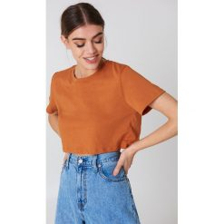 NA-KD Basic Krótki T-shirt oversize - Orange,Copper. Różowe t-shirty damskie marki NA-KD Basic, z bawełny. Za 40,95 zł.
