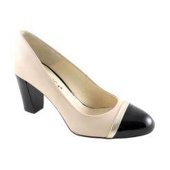 Buty ślubne damskie: Skórzane czółenka w kolorze czarno-beżowym