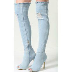 Jasnoniebieskie Kozaki Denim Style. Brązowe buty zimowe damskie marki vices, z materiału, ze szpiczastym noskiem, na wysokim obcasie, na obcasie. Za 89,99 zł.