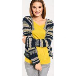 Odzież damska: Sweter rozpinany w kolorze granatowo-złoto-żółtym