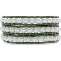 Bransoletki damskie: Skórzana bransoletka ze sztucznymi perłami w kolorze zielono-białym