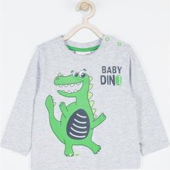 Koszulka. Szare t-shirty chłopięce z długim rękawem BABY DINO, z nadrukiem, z bawełny. Za 39,90 zł.