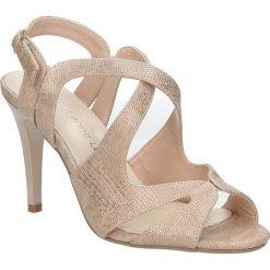Miedziane sandały szpilki błyszczące Sergio Leone SK813-14S. Brązowe sandały damskie Sergio Leone, na szpilce. Za 108,99 zł.