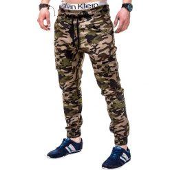 SPODNIE MĘSKIE JOGGERY P257 - BRĄZOWE. Brązowe joggery męskie Ombre Clothing, moro, z bawełny. Za 59,00 zł.