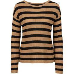 Swetry damskie: Sweter z szyfonową wstawką bonprix kawa lodowa – czarny w paski