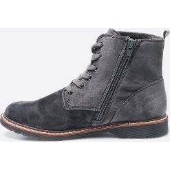 S. Oliver - Botki. Szare buty zimowe damskie S.Oliver, z materiału, z okrągłym noskiem, na obcasie, na sznurówki. W wyprzedaży za 169,90 zł.