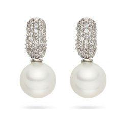 Kolczyki damskie: Kolczyki-kreole z perłami muszlowymi i cyrkoniami