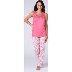 Damska piżama Jersey różowa. Czerwone piżamy damskie Astratex, z nadrukiem, z bawełny. Za 97,99 zł.