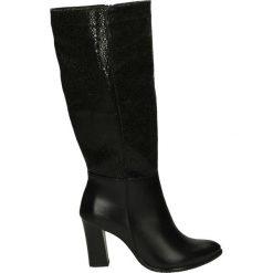 Kozaki ocieplane - 208 PE-PI NER. Czarne buty zimowe damskie marki Kazar, ze skóry, na wysokim obcasie. Za 229,00 zł.