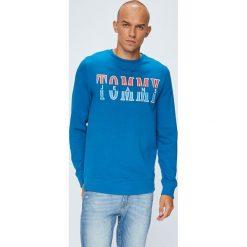 Tommy Jeans - Bluza. Niebieskie bluzy męskie rozpinane Tommy Jeans, l, z nadrukiem, z bawełny, bez kaptura. W wyprzedaży za 239,90 zł.