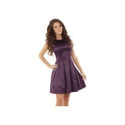 Sukienka kontrafałda śliwka ED02-6. Fioletowe sukienki balowe marki Ella dora, s, z bawełny, rozkloszowane. Za 274,00 zł.