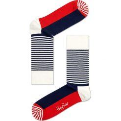 Happy Socks - Skarpety Stripe Half. Szare skarpetki męskie Happy Socks, z bawełny. W wyprzedaży za 29,90 zł.