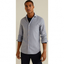Mango Man - Koszula Xanat. Szare koszule męskie na spinki marki S.Oliver, l, z bawełny, z włoskim kołnierzykiem, z długim rękawem. Za 199,90 zł.