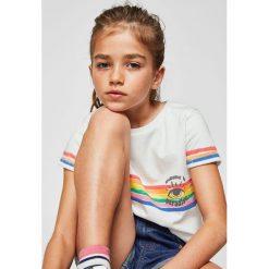 Mango Kids - Top dziecięcy Paradise 110-164 cm. Szare bluzki dziewczęce bawełniane Mango Kids, z nadrukiem, z okrągłym kołnierzem. Za 35,90 zł.