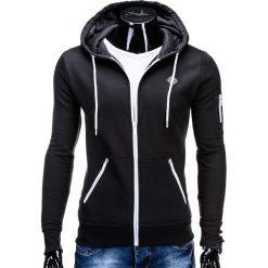 Bluzy męskie: BLUZA MĘSKA ROZPINANA Z KAPTUREM B554 – CZARNA