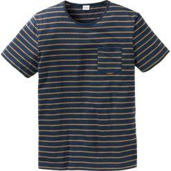 T-shirty męskie: T-shirt w paski Regular Fit bonprix ciemnoniebiesko-koniakowy