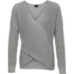 Swetry klasyczne damskie: Sweter dzianinowy z efektem założenia kopertowego bonprix jasnoszary melanż