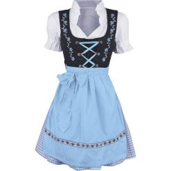 Almwerk Mascha Dirndl Sukienka jasnoniebieski/biały/czarny. Sukienki małe czarne Almwerk, l, z aplikacjami, z kokardą, z krótkim rękawem. Za 164,90 zł.