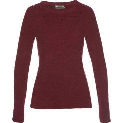 Sweter bonprix czerwony klonowy. Czerwone swetry klasyczne damskie bonprix, z okrągłym kołnierzem. Za 59,99 zł.