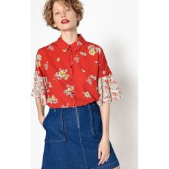 Koszule body: Koszula z rękawami z falbanami w kwiecisty nadruk
