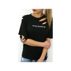 T-SHIRT SINFUL THINKING. Czarne t-shirty damskie marki Mar.ska, l, z nadrukiem, z bawełny. Za 99,00 zł.