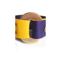 Bransoletki damskie: Bransoletka skóra żółta/fiolet GOLDen