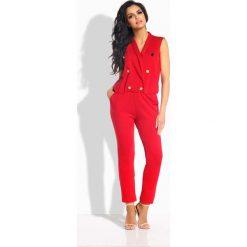 Odzież damska: Czerwony Kombinezon Kopertowy ze Złotymi Guzikami