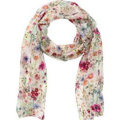 Wąski szalik z jedwabiu w kwiatowy deseń bonprix kremowo-kolorowy. Brązowe szaliki damskie bonprix, w kolorowe wzory. Za 44,99 zł.