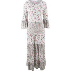 Długie sukienki: Długa sukienka z dżerseju, z kolekcji Maite Kelly bonprix biały w kwiaty