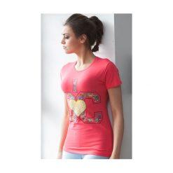 Koralowy T-shirt z aplikacją A191. Pomarańczowe t-shirty damskie Fasardi, z aplikacjami. Za 14,99 zł.