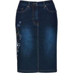 """Spódnica dżinsowa z haftem bonprix ciemnoniebieski """"stone"""". Niebieskie spódniczki bonprix, z haftami. Za 99,99 zł."""