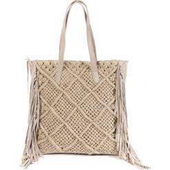 Shopper bag damskie: Torebka skórzana z makramą