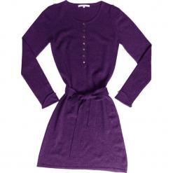Sukienka kaszmirowa w kolorze fioletowym. Fioletowe sukienki na komunię Ateliers de la Maille, na imprezę, z kaszmiru, z okrągłym kołnierzem, midi. W wyprzedaży za 545,95 zł.