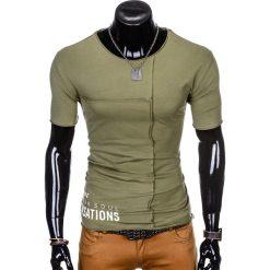 T-SHIRT MĘSKI Z NADRUKIEM S979 - KHAKI. Brązowe t-shirty męskie z nadrukiem Ombre Clothing, m. Za 29,00 zł.