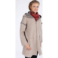 Płaszcze damskie pastelowe: Płaszcz materiałowy - 18-1903 BEIGE
